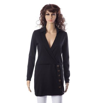 Casual Plunging Neck Solid Color Button Embellished Long Sleeve Women's Dress