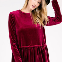 Burgundy Velvet Peplum Top