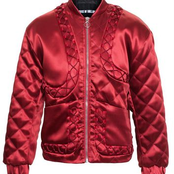 Quilted Satin Bomber Jacket - HOUSE OF HOLLAND