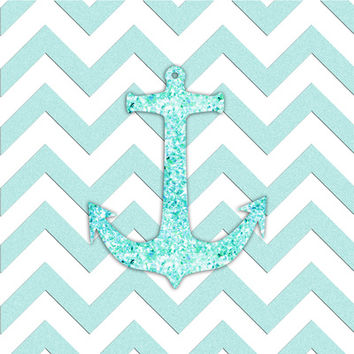 Sail with Me | Glitter nautical anchor, teal blue chevron pattern Art Print by Girly Trend