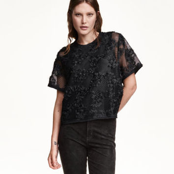 H&M Blouse with Chiffon Flowers $49.99