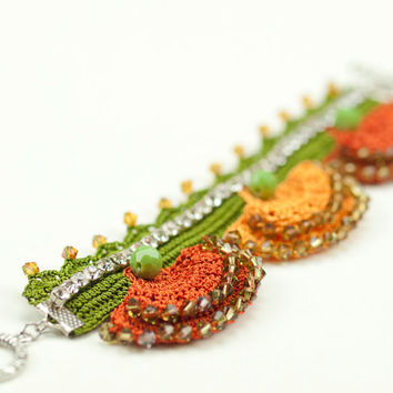 Freeform Orange Crochet Lace Cuff - Swarovski Elements - Rhinestones - Statement Cuff - Fiber Art Jewelry - Rust Green - Carnation - Ottoman