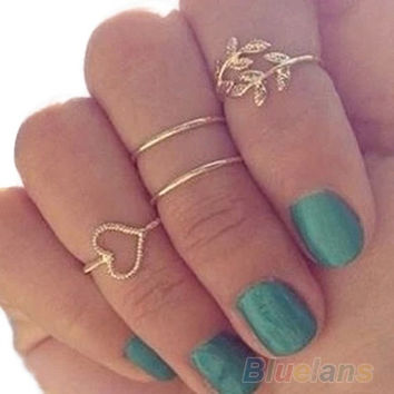 4PCS/Set Rings Urban Gold Plated Crystal Plain Cute Above Knuckle Ring Band Midi Ring = 1652470340