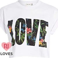 White 'love' print cropped tee - crop t-shirts - t shirts / tanks / sweats - women