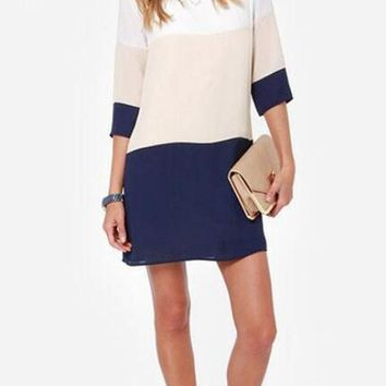 Streetstyle  Casual Multicolor Color Block Back Buttons Round Neck 3/4 Sleeve Mini Dress