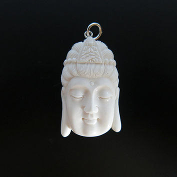 Kwan Yin Bone Pendant, Bali Bone Carving, unique handmade jewelry from Bali