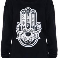 ROMWE | ROMWE Hamsa Prin Black Long-sleeved Sweatshirt, The Latest Street Fashion