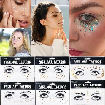 1 PC Hot Sale Personality Fashion Disposable Waterproof Bronzing Freckles Gold Face Tattoo Beauty Makeup Flash Body Art Stickers