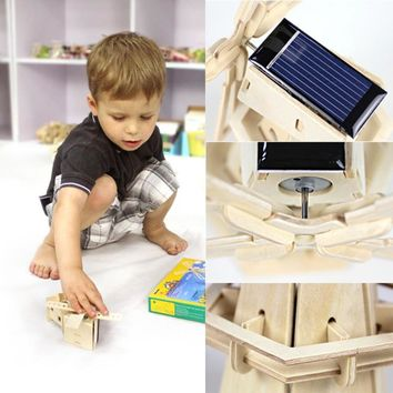 Wooden Solar Energy Powered 3D Windmill Waterwheel DIY Puzzle Jigsaw Building Block Educational Toy Gift for Kid Child