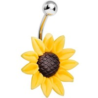 Body Candy Stunning Sunflower Belly Ring