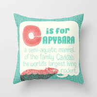 C is for Capybara Throw Pillow by Sarajea