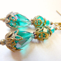 Vintage earrings teal drop blue green transparent crystal earrings
