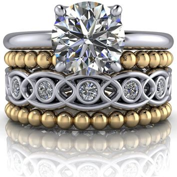 Round Engagement Ring and Wedding Bands - Insieme™ Bridal Stackables Set - Customize Your Ring
