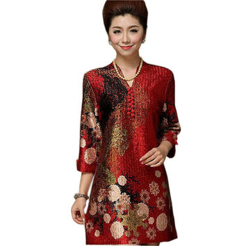 Chinese Silk Dresses Women Summer 2016 Plus Size 7XL Clothing Flowers Cheongsam Dress Red Middle Age Clothing Vintage Dress