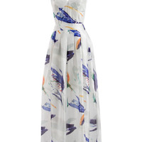 White Spaghetti Strap V-neck Painting Print A-Line Pleated Maxi Dress