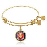 Expandable Bangle in Yellow Tone Brass with U.S. Marine Corps Symbol
