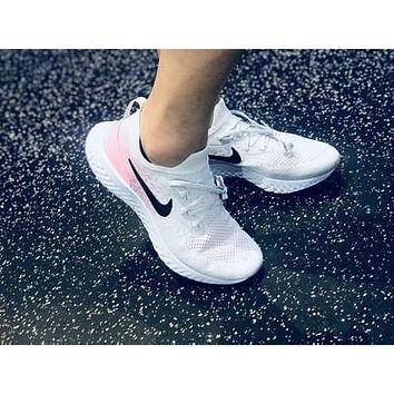 18SS£¡Nike Epic React Flyknit Running Shoes Sneaker ¡°White&Pink¡± AQ00701-007