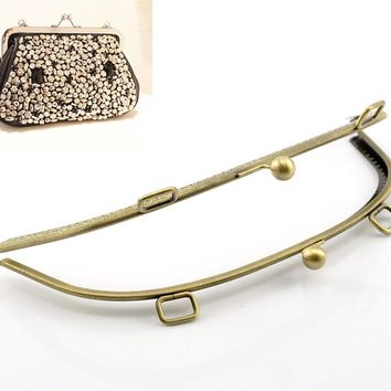 PACGOTH Iron Based Alloy Kiss Clasp Lock Purse Frame Arch Antique Bronze 25.5x11cm, Open Size: 25.5x22cm, 1 Pc