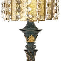 "0-006223>22""h Amber And Crystal 1-Light Table Lamp Gold Leaf/Black"