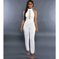 White Sleeveless Sheer Lace Paneled Bodycon Jumpsuit