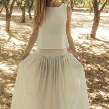 Off white wedding skirt, Off white tulle bridal skirt, Off white wedding tulle skirt, Wedding skirt separates, Clematis offwhite skirt