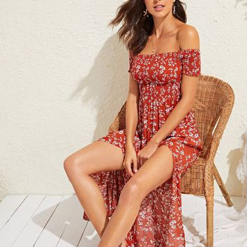 Ditsy Floral Print Split Thigh Shirred Bardot Maxi Dress