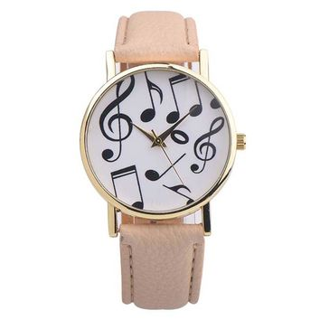 Watches women Fashion 2017 Musical Notes PU Leather wrist watch, quartz watch Clock Female Montre Femme
