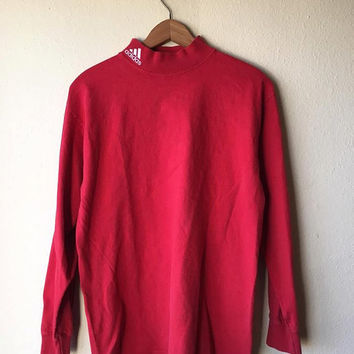 SMALL 90s Adidas Embroidered Turtleneck Longsleeve Athletic T-Shirt // Red 90s Adidas Trefoil T-Shirt Men's Small
