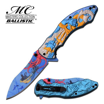 Master Collection 4.75 Inch Closed Fantasy Spring Assisted Folding Knife Blue