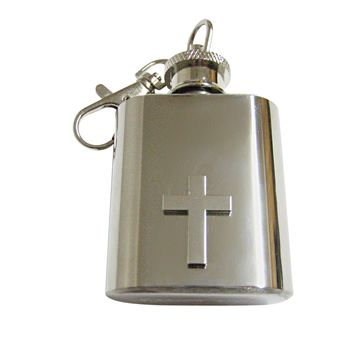 Silver Toned Classic Religious Cross Keychain Flask