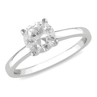 6.5mm Lab-Created White Sapphire Solitaire Ring in 10K White Gold - View All Rings - Zales