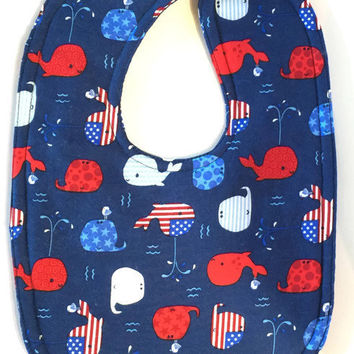 Patriotic baby bib- 4th of July bib - red, white and blue bib - nautical bibs - boy bibs - whale bib - girl bibs - toddler bibs - flag bibs