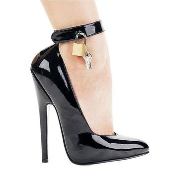 Ellie Shoes E-8267 6 Heel Fetish Pump With Lock & Key