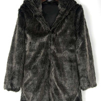 Gray Cat Ear Detail Hooded Faux Fur Coat
