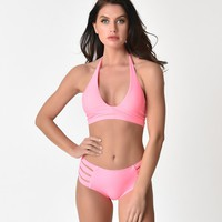 Watermelon Pink Halter Wrap Swim Top