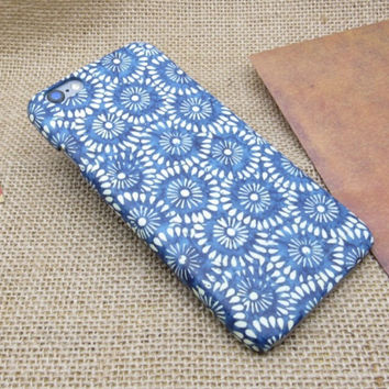 Blue Floral Case Cover for iPhone 7 7 Plus - iPhone 5s se - iPhone 6 6s Plus + Gift Box