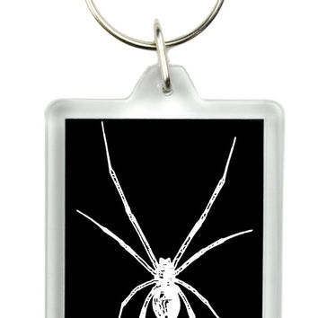 Black Widow Spider Keychain Gothic Deathrock Key Ring