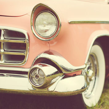 Vintage Pink Car Photograph, Mid Century, Classic Hollywood, Grapefruit, Pastel, Spring - Traveling in Style