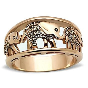 Doublebeez Jewelry Stainless Steel Rose Gold Tone IP Filigree Parading Elephants Ring
