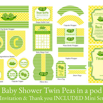 TWINS BABY SHOWER Party Printable Set, Twins shower decorations, Two peas in a pod printable baby shower, Invitation & Thank you Included