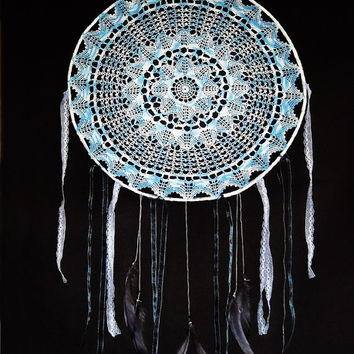 Big dream catcher crochet lace, blue doily, silver gray feathers, bohemian, wall hanging