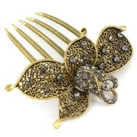Flower Elegant Design Fashion Jewelry Hair Comb with Clear and AB Rhinestones - Approx. 3'' Length
