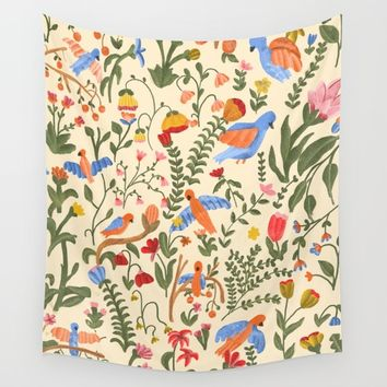 Tropical Garden Pattern Wall Tapestry by chotnelle