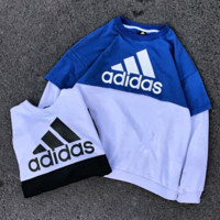 Adidas Fashion New Bust Letter Print Contrast Color Loose Long Sleeve Top Sweater