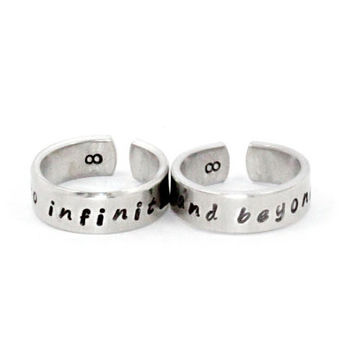 To Infinity And Beyond Ring Set, Personalized Love Jewelry, Hand Stamped Cuff Rings, Lovers Gift, Family Jewelry, Gift For Girlfriend