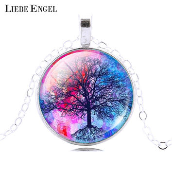 LIEBE ENGEL Fashion Life Tree Pendant Necklace Vintage Silver Color Chain Necklace in Jewelry Classic Glass Cabochon Necklace