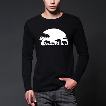 autumn and winter Elephants Walker Across African Safari T-Shirt  streetwear long sleeve T-Shirt hip hop o-neck casual mens