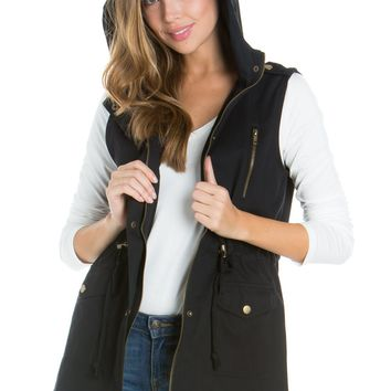 Black Anorak Military utility Jacket Vest with Drawstring