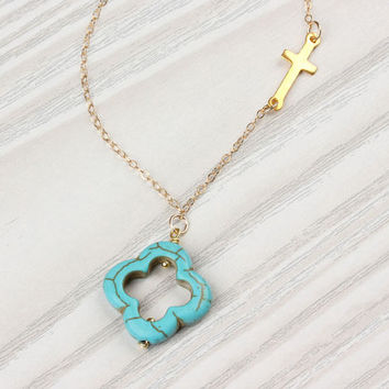 "Sideways cross necklace, turquoise clover necklace, turquoise clover, gold cross necklace, asymmetrical necklace, 14k gold filled, ""Admete"