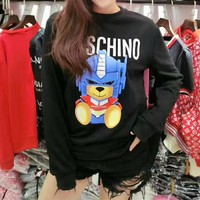 Moschino Women Casual Fashion Letter Transformers Bear Pattern Long Sleeve Round Neck Sweater Tops
